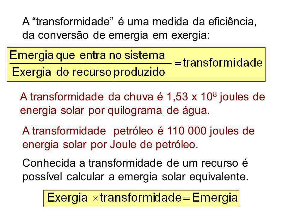 """A """"transformidade"""" é uma medida da eficiência, da conversão de emergia em exergia: A transformidade da chuva é 1,53 x 10 8 joules de energia solar por"""