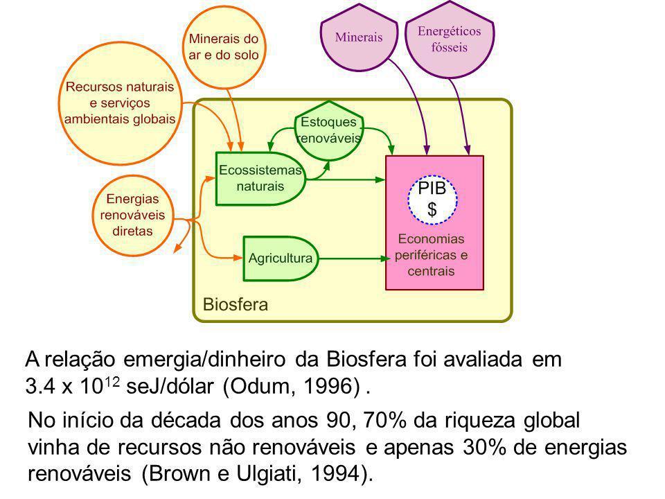 A relação emergia/dinheiro da Biosfera foi avaliada em 3.4 x 10 12 seJ/dólar (Odum, 1996). No início da década dos anos 90, 70% da riqueza global vinh