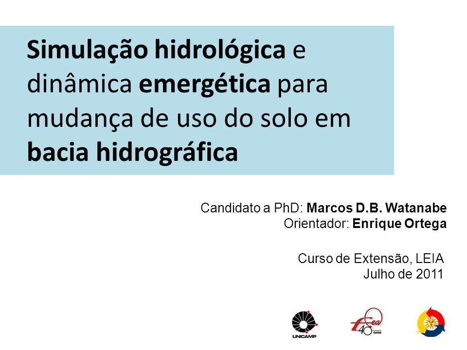 Simulação hidrológica e dinâmica emergética para mudança de uso do solo em bacia hidrográfica Candidato a PhD: Marcos D.B. Watanabe Orientador: Enriqu