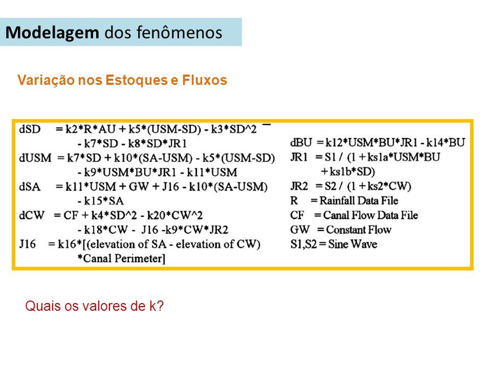 Modelagem dos fenômenos Variação nos Estoques e Fluxos Quais os valores de k?