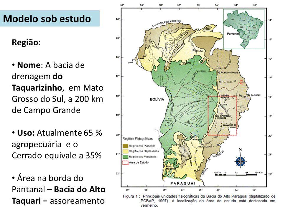 Região: Nome: A bacia de drenagem do Taquarizinho, em Mato Grosso do Sul, a 200 km de Campo Grande Uso: Atualmente 65 % agropecuária e o Cerrado equiv