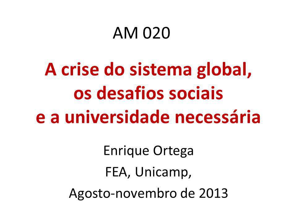 AM 020 A crise do sistema global, os desafios sociais e a universidade necessária Enrique Ortega FEA, Unicamp, Agosto-novembro de 2013