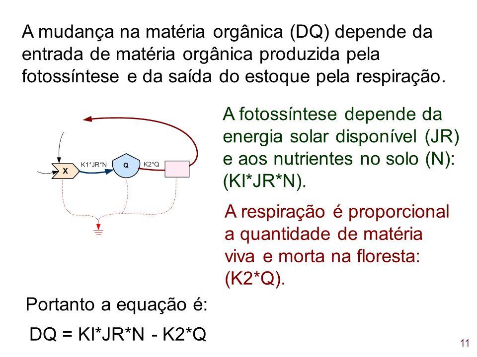 11 A mudança na matéria orgânica (DQ) depende da entrada de matéria orgânica produzida pela fotossíntese e da saída do estoque pela respiração. A foto