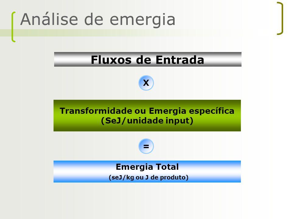 Análise de emergia Transformidade ou Emergia específica (SeJ/unidade input) X = Emergia Total (seJ/kg ou J de produto) Fluxos de Entrada