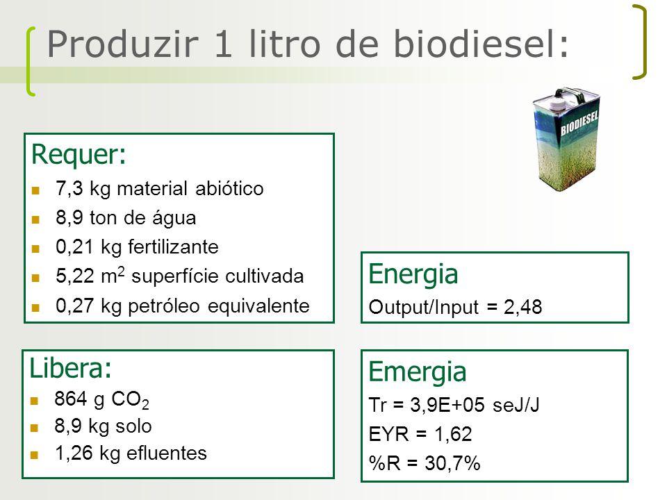 Requer: 7,3 kg material abiótico 8,9 ton de água 0,21 kg fertilizante 5,22 m 2 superfície cultivada 0,27 kg petróleo equivalente Libera: 864 g CO 2 8,