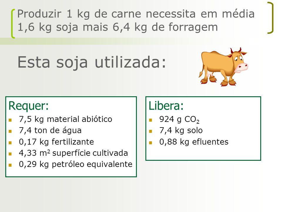 Requer: 7,5 kg material abiótico 7,4 ton de água 0,17 kg fertilizante 4,33 m 2 superfície cultivada 0,29 kg petróleo equivalente Libera: 924 g CO 2 7,