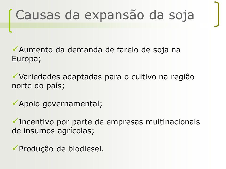 Causas da expansão da soja Aumento da demanda de farelo de soja na Europa; Aumento da demanda de farelo de soja na Europa; Variedades adaptadas para o