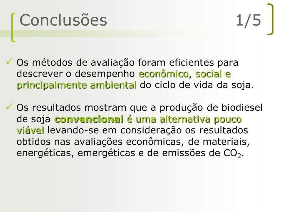 Os métodos de avaliação foram eficientes para descrever o desempenho econômico, social e principalmente ambiental do ciclo de vida da soja. Os métodos