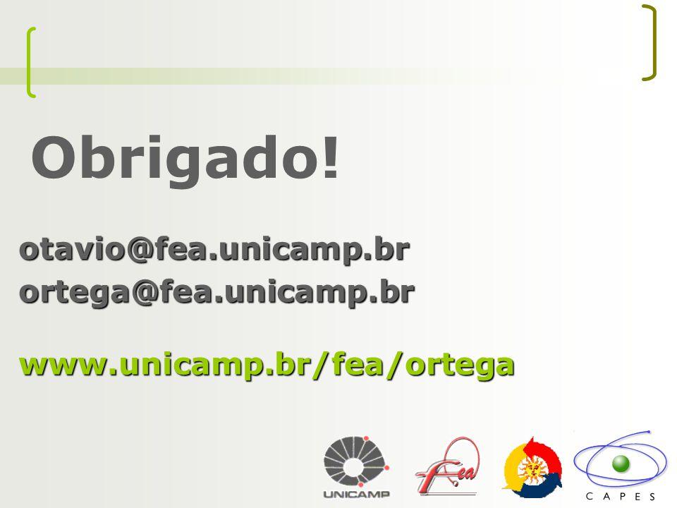 Obrigado! otavio@fea.unicamp.br ortega@fea.unicamp.brwww.unicamp.br/fea/ortega