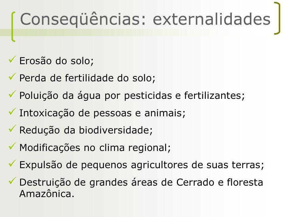 Erosão do solo; Erosão do solo; Perda de fertilidade do solo; Perda de fertilidade do solo; Poluição da água por pesticidas e fertilizantes; Poluição