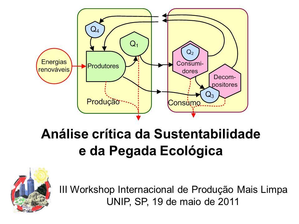 Análise crítica da Sustentabilidade e da Pegada Ecológica III Workshop Internacional de Produção Mais Limpa UNIP, SP, 19 de maio de 2011