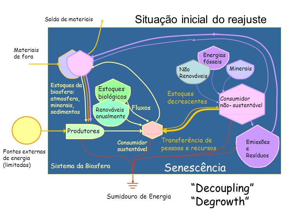 Fontes externas de energia (limitadas) Sumidouro de Energia Sistema da Biosfera Situação inicial do reajuste Produtores Estoques da biosfera: atmosfera, minerais, sedimentos Estoques biológicos Energias fósseis Consumidor sustentável Renováveis anualmente Minerais Materiais de fora Emissões e Resíduos Saída de materiais Não Renováveis Consumidor não- sustentável Fluxos Estoques decrescentes Transferência de pessoas e recursos Senescência Decoupling Degrowth