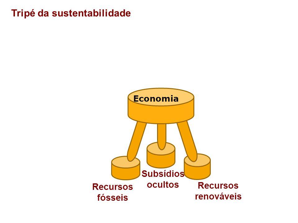 Tripé da sustentabilidade Economia Recursos renováveis Recursos fósseis Subsídios ocultos