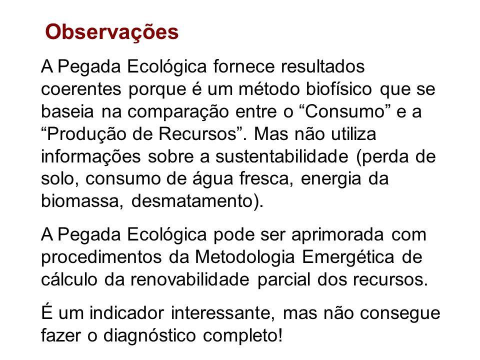 A Pegada Ecológica fornece resultados coerentes porque é um método biofísico que se baseia na comparação entre o Consumo e a Produção de Recursos .