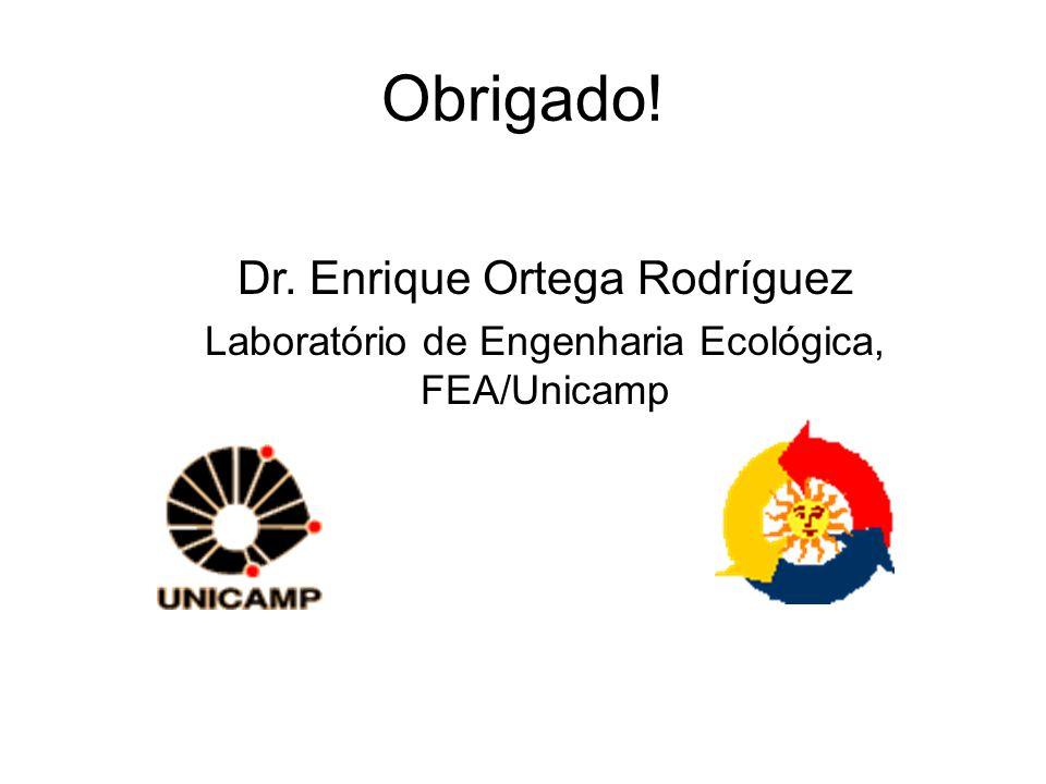 Obrigado! Dr. Enrique Ortega Rodríguez Laboratório de Engenharia Ecológica, FEA/Unicamp