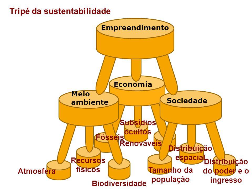 Tripé da sustentabilidade Economia Meio ambiente Tamanho da população Recursos físicos Biodiversidade Sociedade Empreendimento Atmosfera Distribuição espacial Renováveis Distribuição do poder e o ingresso Fósseis Subsídios ocultos
