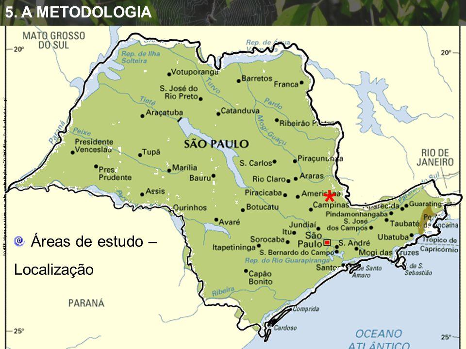 FONTE: http://asnovidades.com.br/wp-content/uploads/2010/09/Mapa-Sao-Paulo-cidades.gif 5. A METODOLOGIA * Áreas de estudo – Localização