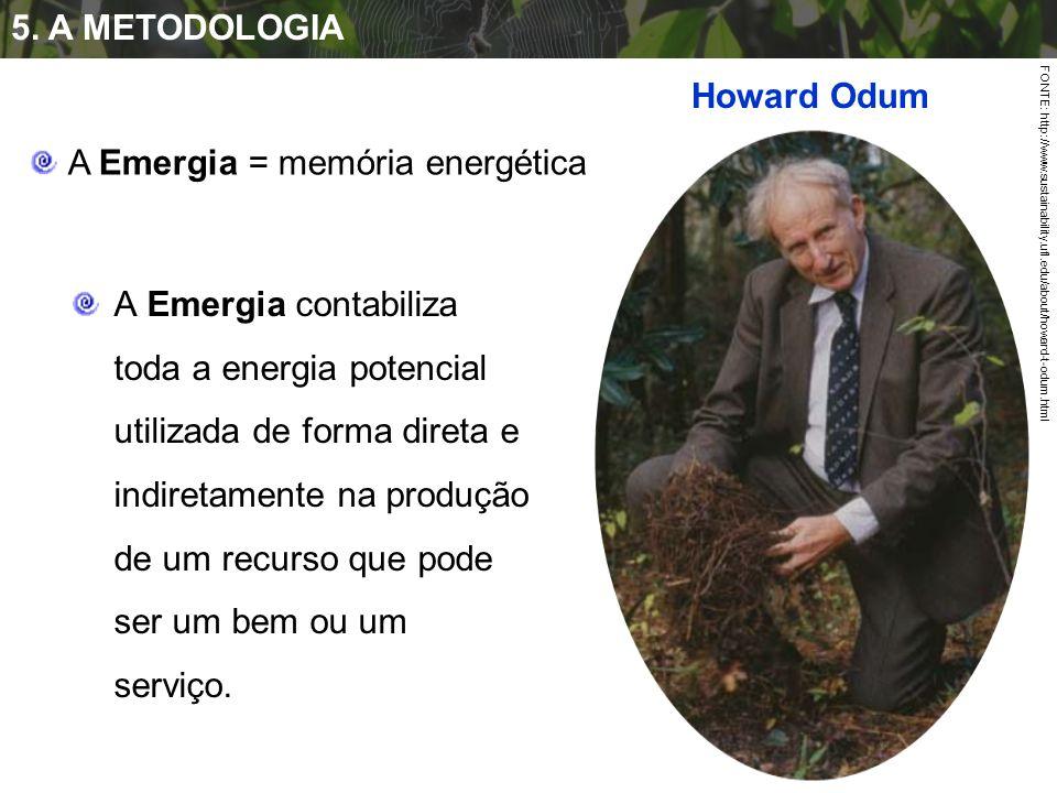 5. A METODOLOGIA FONTE: http://www.sustainability.ufl.edu/about/howard-t-odum.html A Emergia contabiliza toda a energia potencial utilizada de forma d