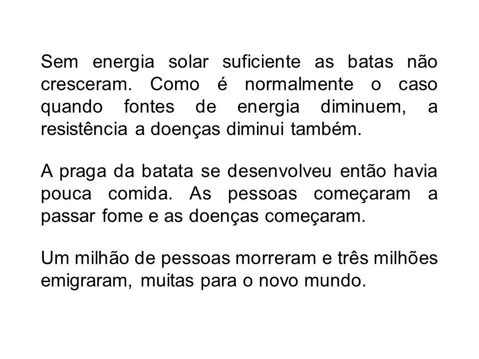 Sem energia solar suficiente as batas não cresceram. Como é normalmente o caso quando fontes de energia diminuem, a resistência a doenças diminui tamb