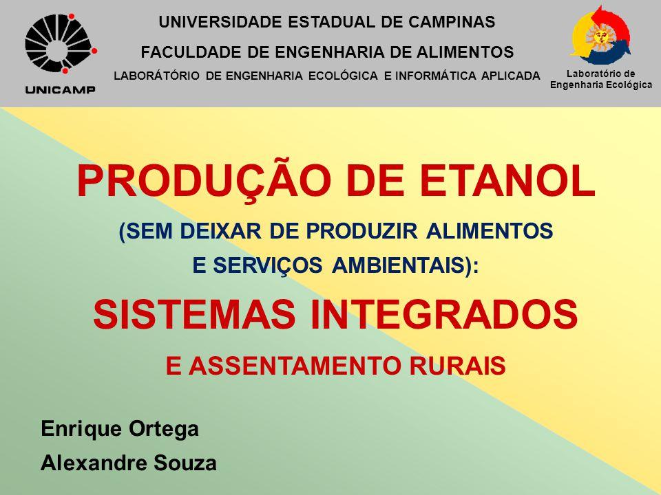 Laboratório de Engenharia Ecológica PRODUÇÃO DE ETANOL (SEM DEIXAR DE PRODUZIR ALIMENTOS E SERVIÇOS AMBIENTAIS): SISTEMAS INTEGRADOS E ASSENTAMENTO RU