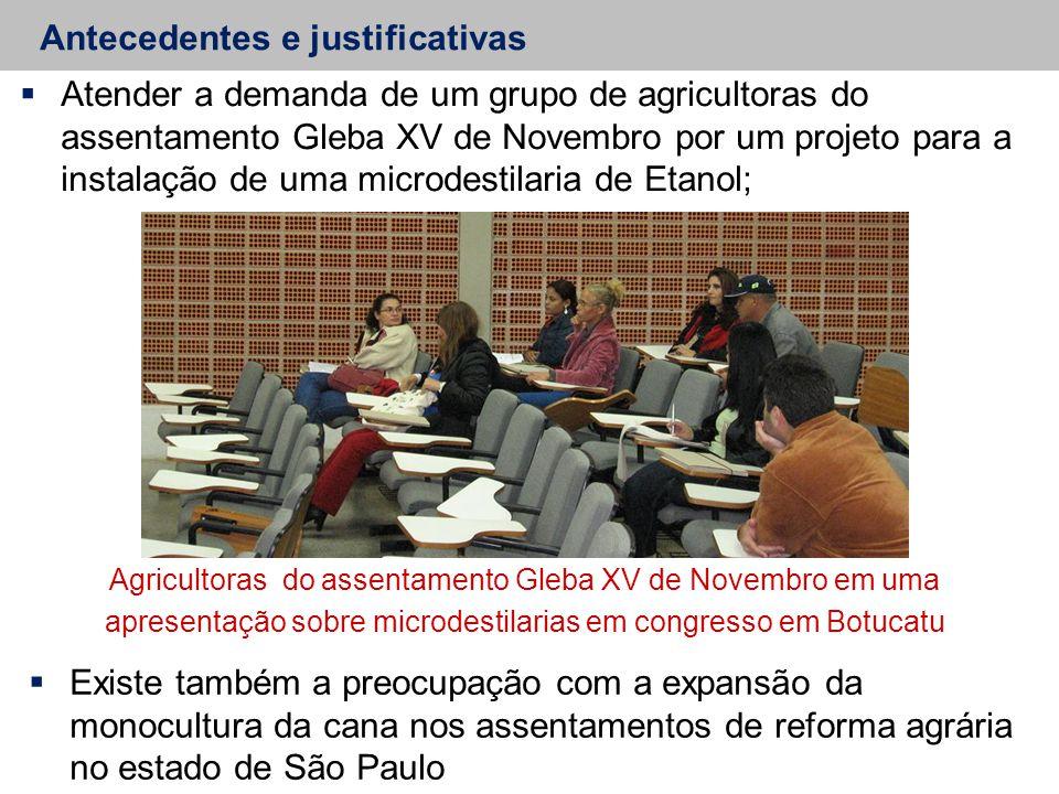 Antecedentes e justificativas  Atender a demanda de um grupo de agricultoras do assentamento Gleba XV de Novembro por um projeto para a instalação de