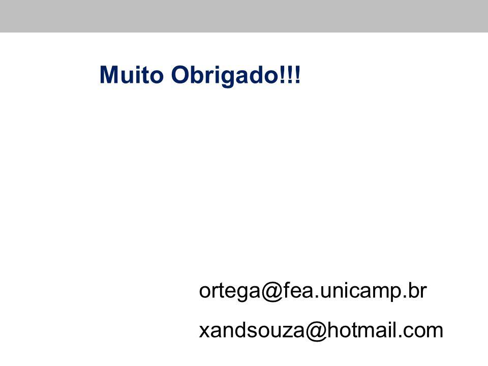 Muito Obrigado!!! ortega@fea.unicamp.br xandsouza@hotmail.com
