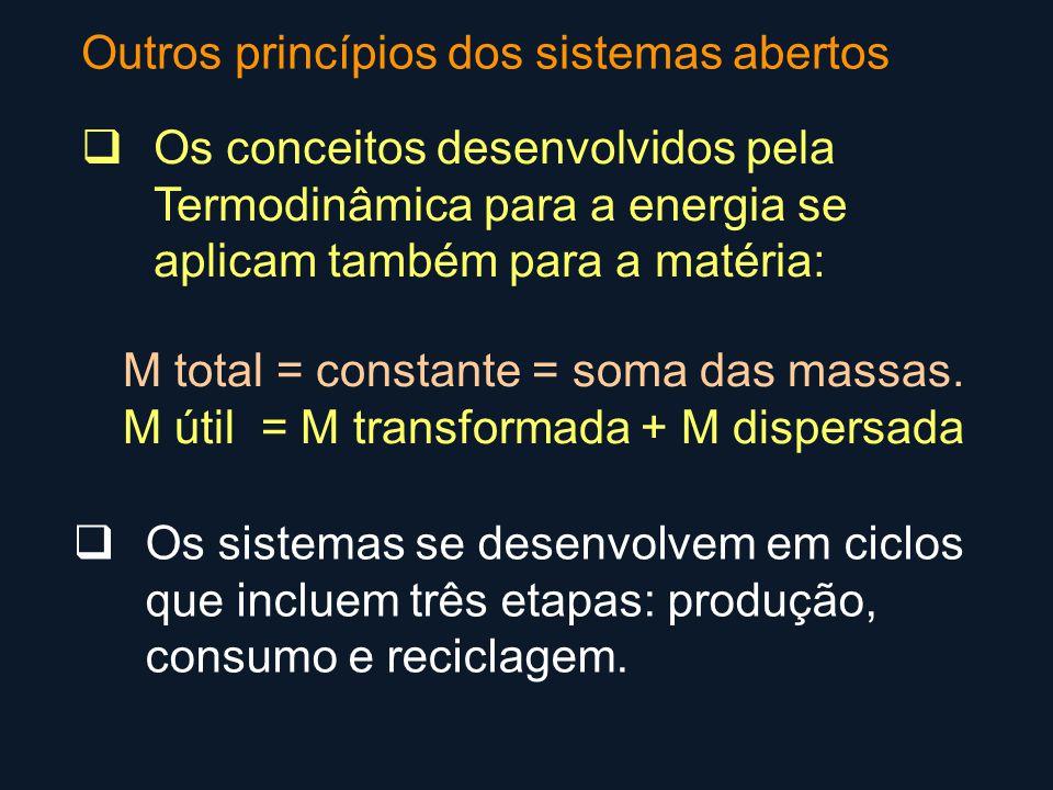 Outros princípios dos sistemas abertos  Os sistemas se desenvolvem em ciclos que incluem três etapas: produção, consumo e reciclagem.