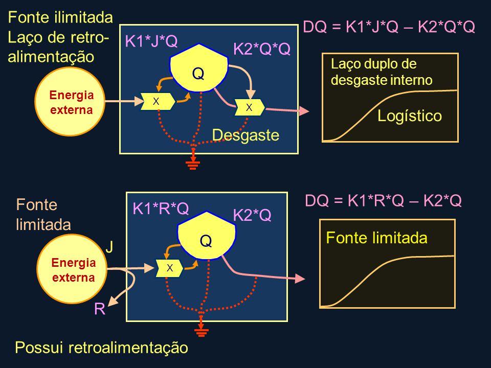 R Q K2*Q*Q X Energia externa Fonte ilimitada Laço de retro- alimentação X K1*J*Q Q Fonte limitada K2*Q X Energia externa Possui retroalimentação K1*R*Q J DQ = K1*R*Q – K2*Q DQ = K1*J*Q – K2*Q*Q Laço duplo de desgaste interno Fonte limitada Logístico Desgaste