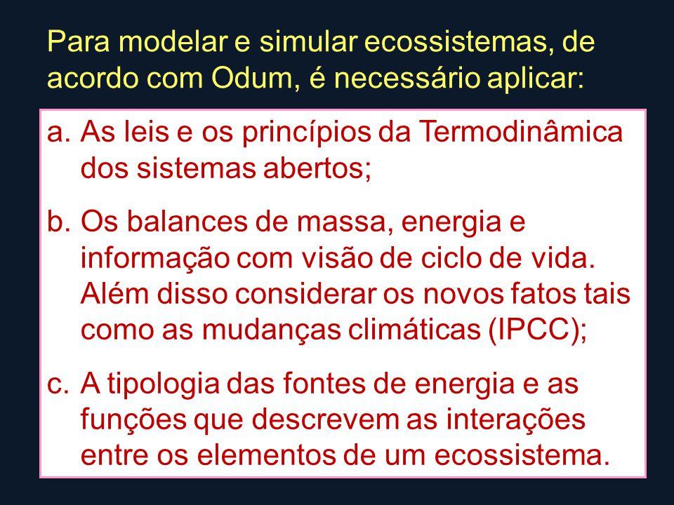 a.As leis e os princípios da Termodinâmica dos sistemas abertos; b.Os balances de massa, energia e informação com visão de ciclo de vida.