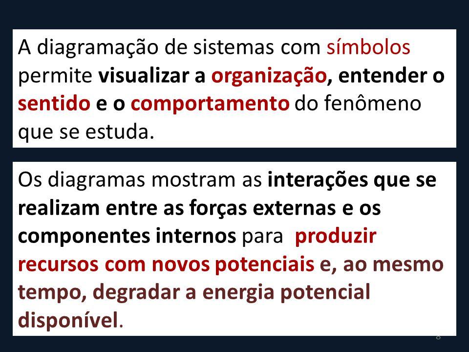 8 A diagramação de sistemas com símbolos permite visualizar a organização, entender o sentido e o comportamento do fenômeno que se estuda.