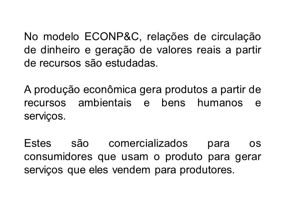 No modelo ECONP&C, relações de circulação de dinheiro e geração de valores reais a partir de recursos são estudadas.