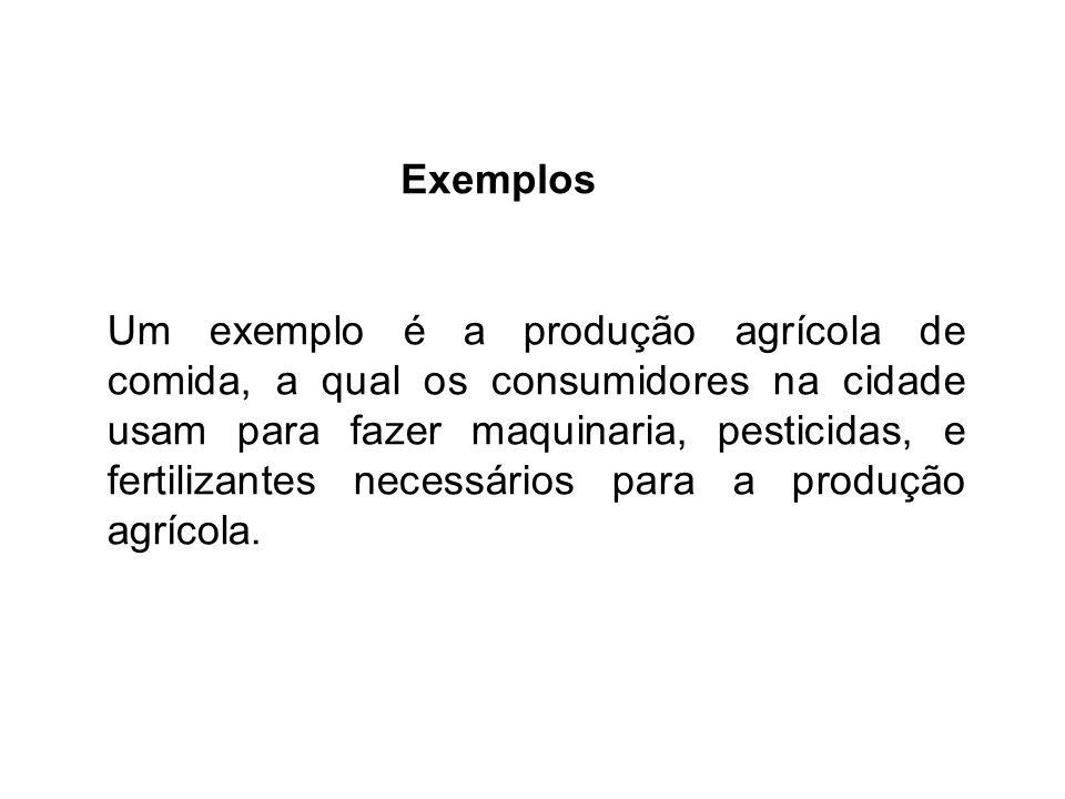 Exemplos Um exemplo é a produção agrícola de comida, a qual os consumidores na cidade usam para fazer maquinaria, pesticidas, e fertilizantes necessários para a produção agrícola.