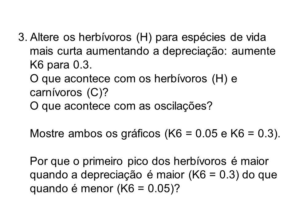 3. Altere os herbívoros (H) para espécies de vida mais curta aumentando a depreciação: aumente K6 para 0.3. O que acontece com os herbívoros (H) e car