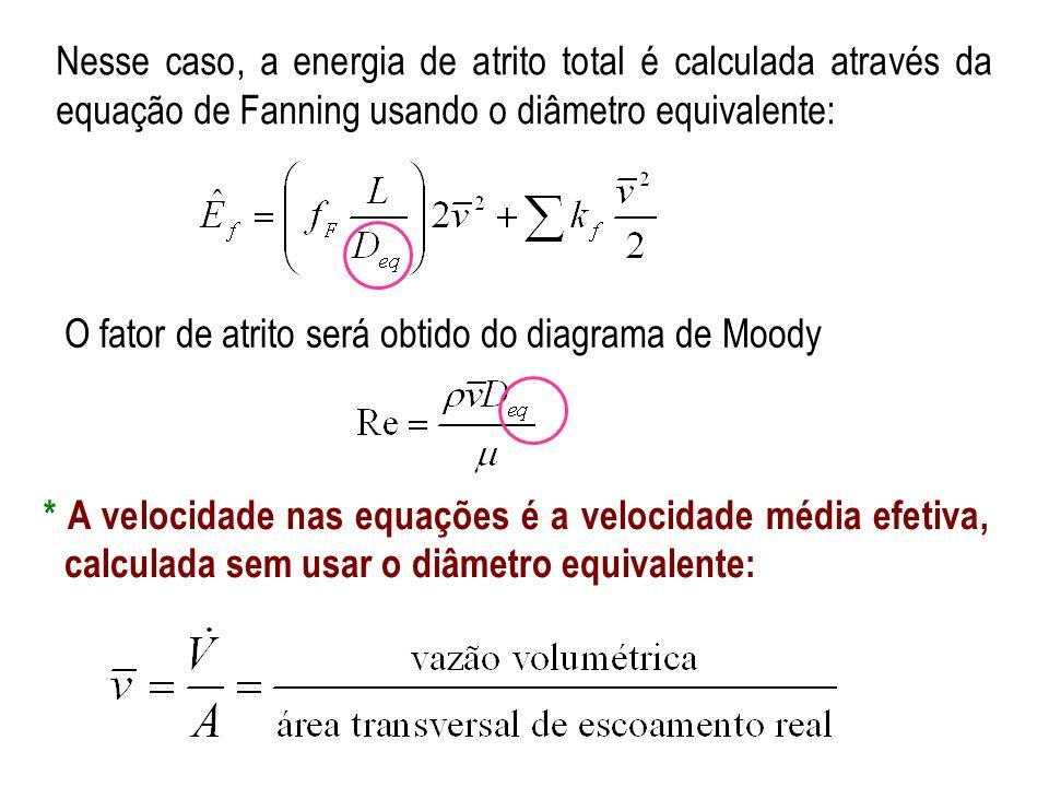 Nesse caso, a energia de atrito total é calculada através da equação de Fanning usando o diâmetro equivalente: * A velocidade nas equações é a velocid