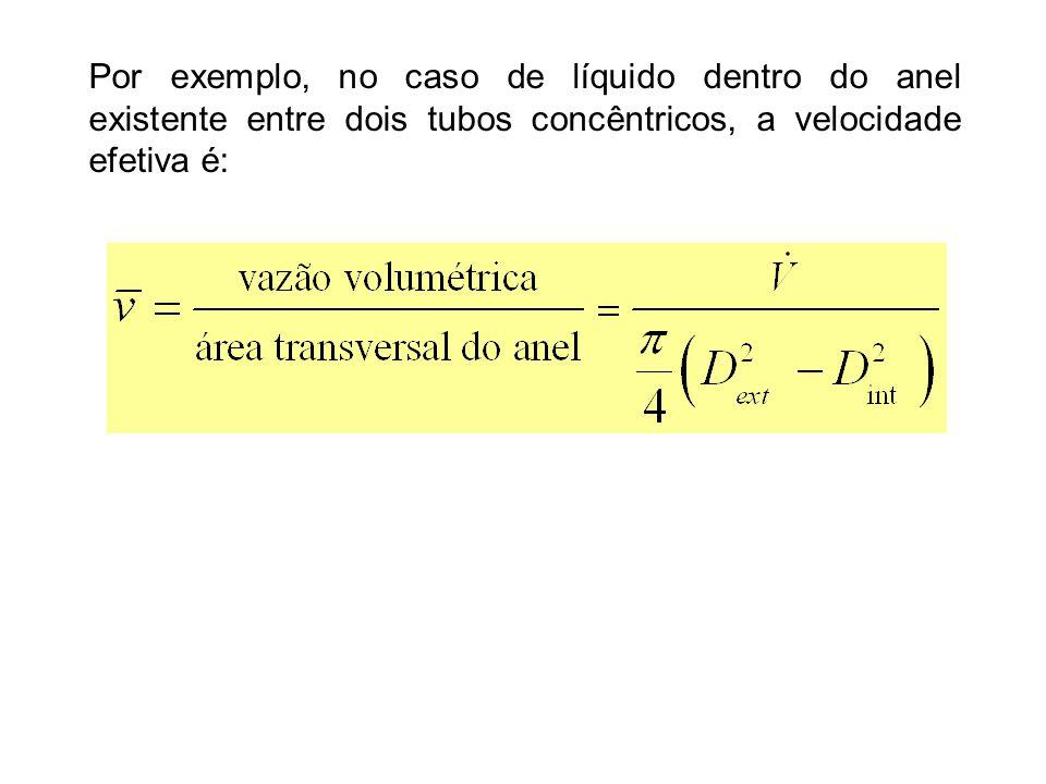 Por exemplo, no caso de líquido dentro do anel existente entre dois tubos concêntricos, a velocidade efetiva é: