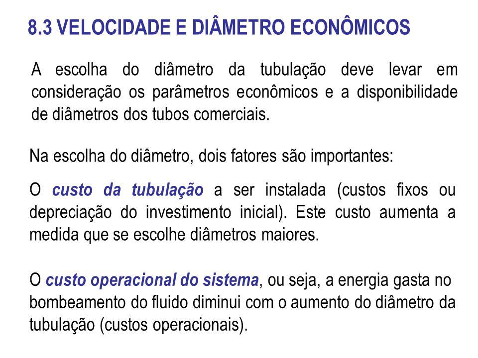 8.3 VELOCIDADE E DIÂMETRO ECONÔMICOS A escolha do diâmetro da tubulação deve levar em consideração os parâmetros econômicos e a disponibilidade de diâ