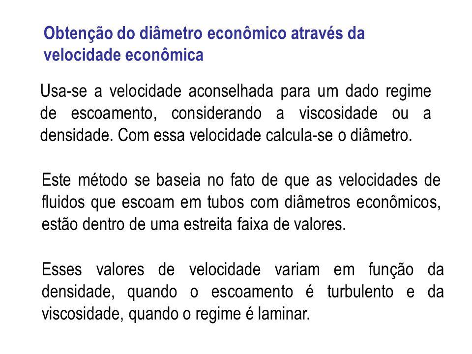 Obtenção do diâmetro econômico através da velocidade econômica Usa-se a velocidade aconselhada para um dado regime de escoamento, considerando a visco