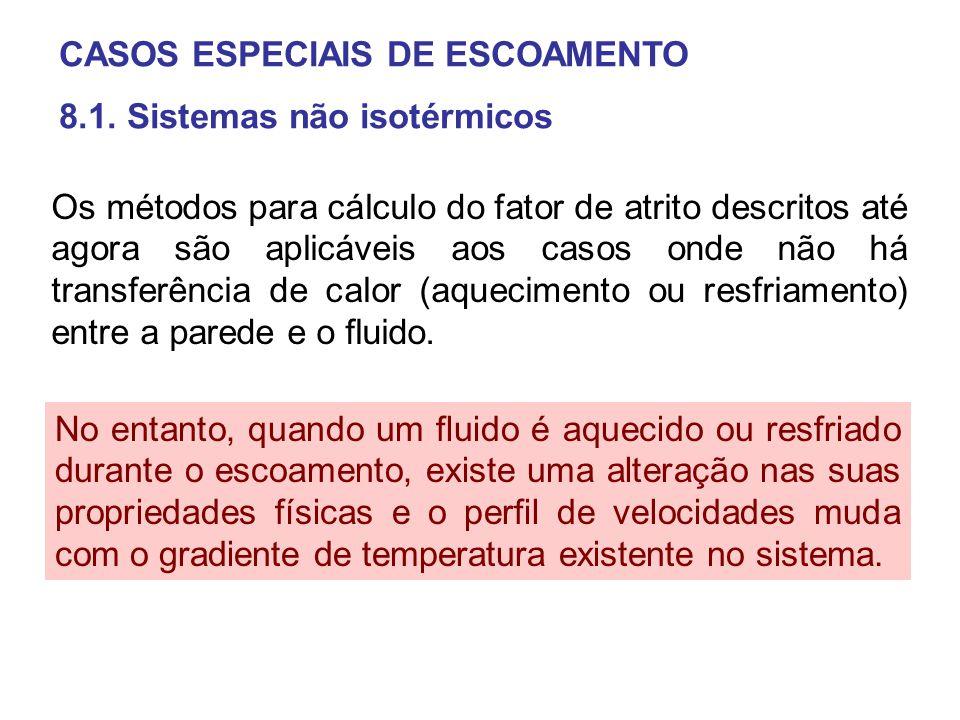 CASOS ESPECIAIS DE ESCOAMENTO 8.1. Sistemas não isotérmicos Os métodos para cálculo do fator de atrito descritos até agora são aplicáveis aos casos on