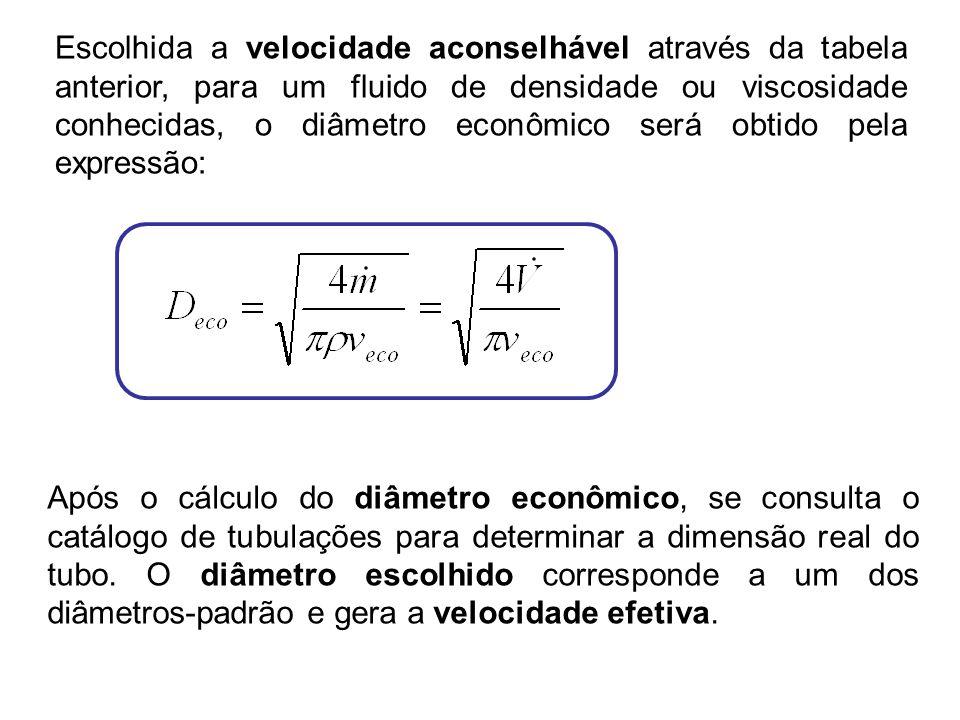 Escolhida a velocidade aconselhável através da tabela anterior, para um fluido de densidade ou viscosidade conhecidas, o diâmetro econômico será obtid