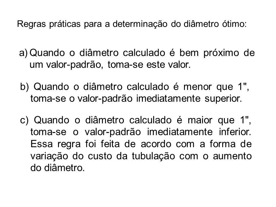 Regras práticas para a determinação do diâmetro ótimo: a)Quando o diâmetro calculado é bem próximo de um valor-padrão, toma-se este valor. b) Quando o
