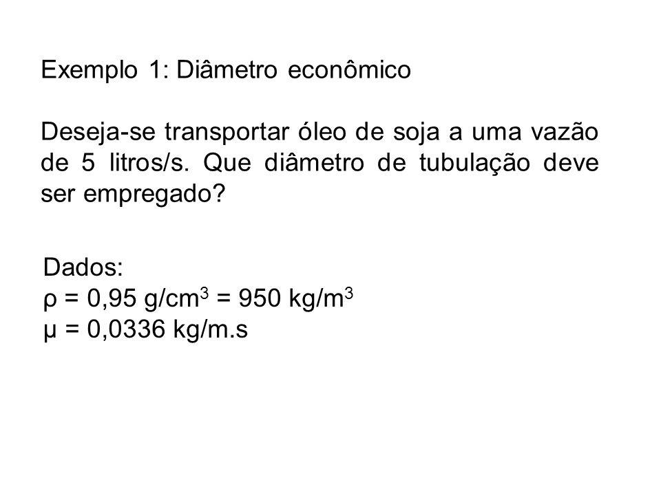 Exemplo 1: Diâmetro econômico Deseja-se transportar óleo de soja a uma vazão de 5 litros/s. Que diâmetro de tubulação deve ser empregado? Dados: ρ = 0