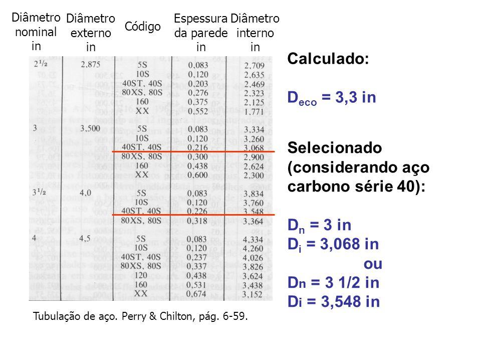 Selecionado (considerando aço carbono série 40): D n = 3 in D i = 3,068 in ou D n = 3 1/2 in D i = 3,548 in Diâmetro interno in Diâmetro externo in Es