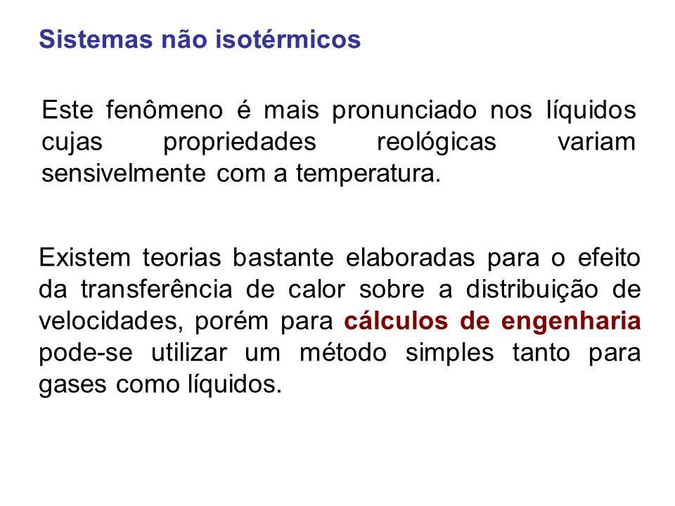 Descrição do método: a) Calcular o número de Reynolds com valores de parâmetros reológicos e densidade à temperatura média.
