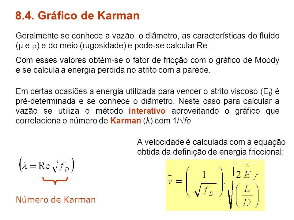8.4. Gráfico de Karman Geralmente se conhece a vazão, o diâmetro, as características do fluído (μ e  ) e do meio (rugosidade) e pode-se calcular Re.
