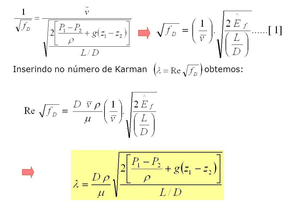 Inserindo no número de Karman obtemos: