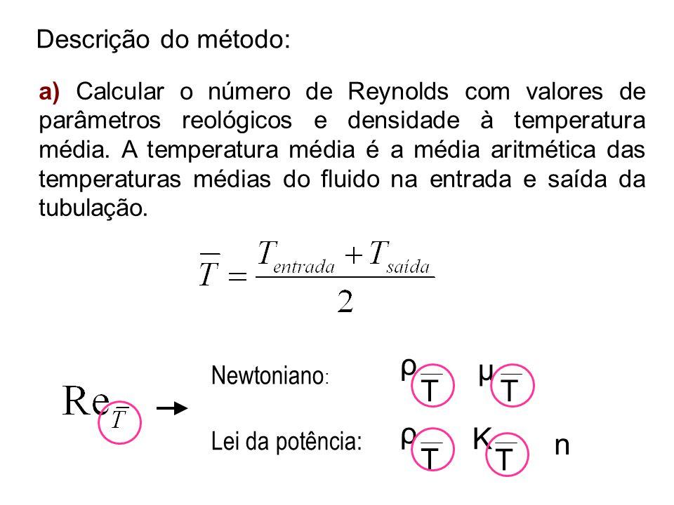 Descrição do método: a) Calcular o número de Reynolds com valores de parâmetros reológicos e densidade à temperatura média. A temperatura média é a mé