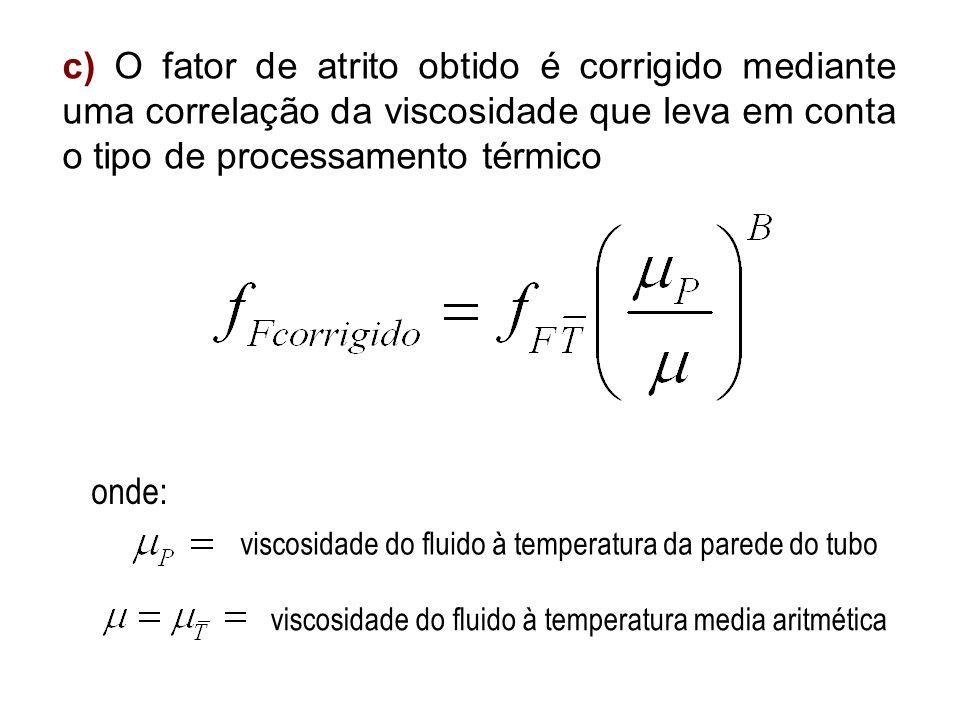 c) O fator de atrito obtido é corrigido mediante uma correlação da viscosidade que leva em conta o tipo de processamento térmico onde: viscosidade do