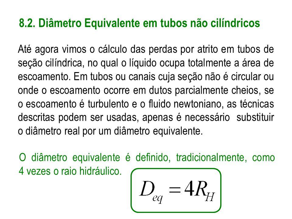 8.2. Diâmetro Equivalente em tubos não cilíndricos Até agora vimos o cálculo das perdas por atrito em tubos de seção cilíndrica, no qual o líquido ocu