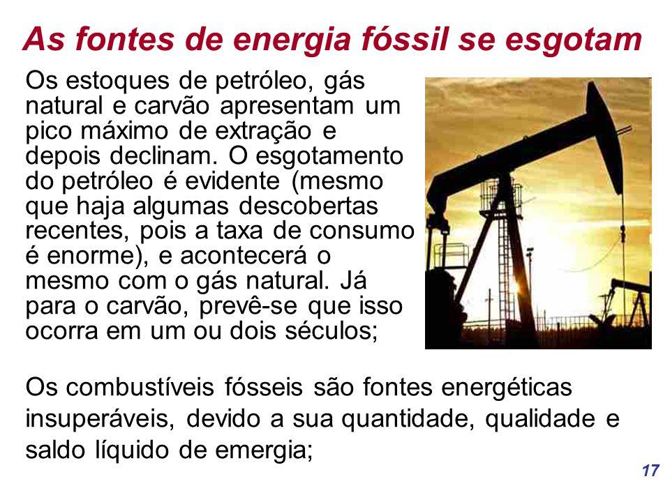 17 As fontes de energia fóssil se esgotam Os estoques de petróleo, gás natural e carvão apresentam um pico máximo de extração e depois declinam.