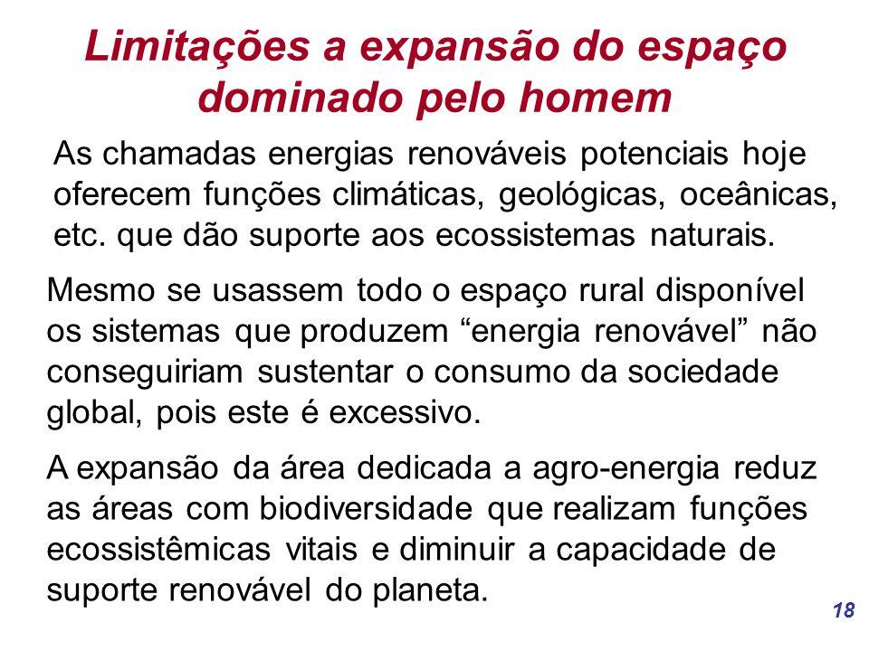 18 Limitações a expansão do espaço dominado pelo homem As chamadas energias renováveis potenciais hoje oferecem funções climáticas, geológicas, oceânicas, etc.